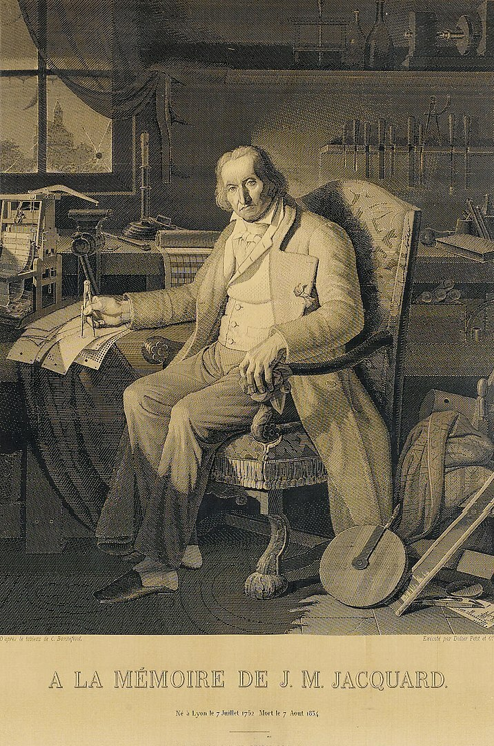 This portrait of Jacquard was woven in silk on a Jacquard loom and required 24,000 punched cards to create (1839). It was only produced to order.