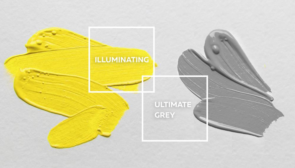 Ultimate Grey (PANTONE 17-5104) paired with Illuminating (PANTONE 13-0647)