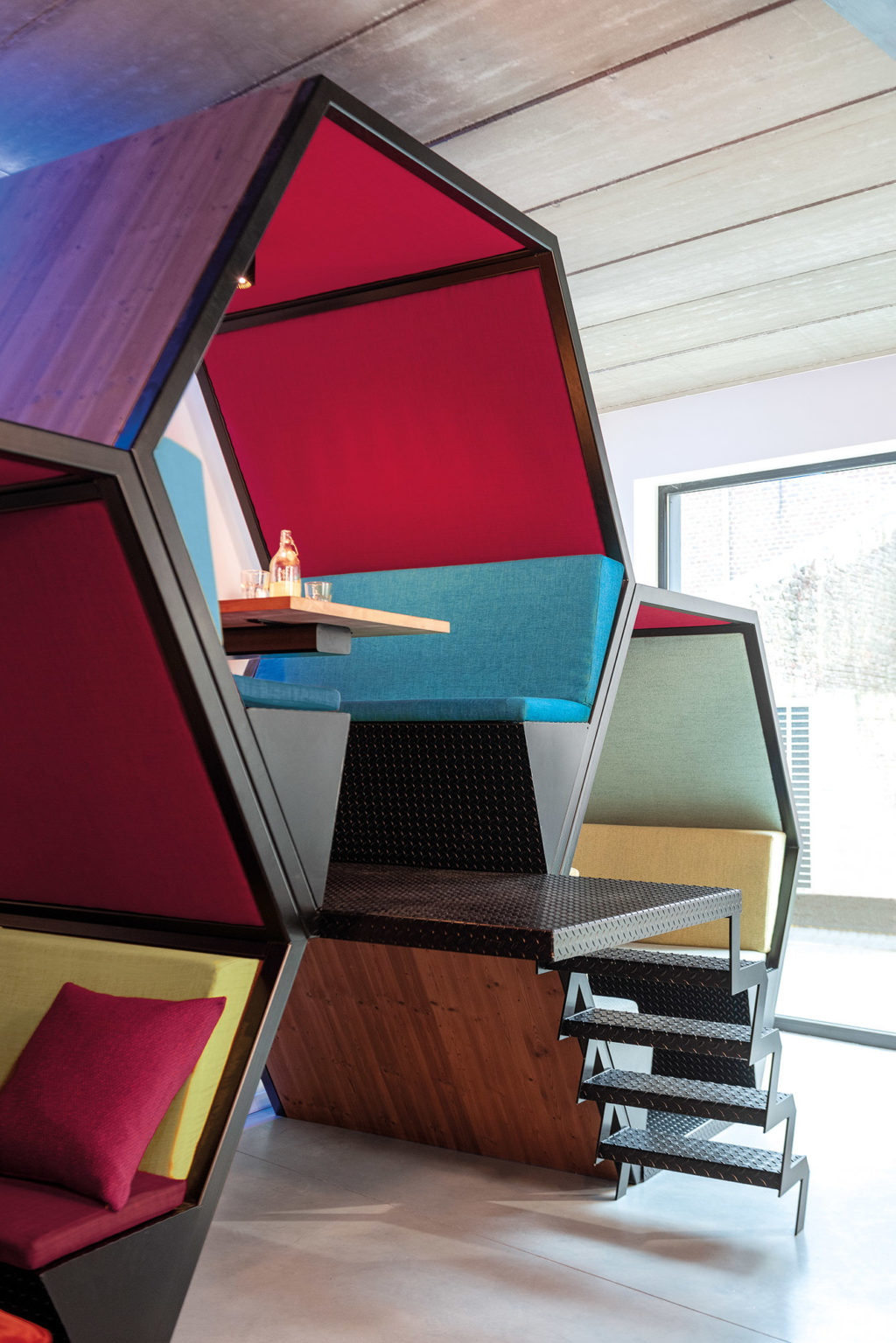 Workspace interior upholstered in FibreGuard fabric Futura