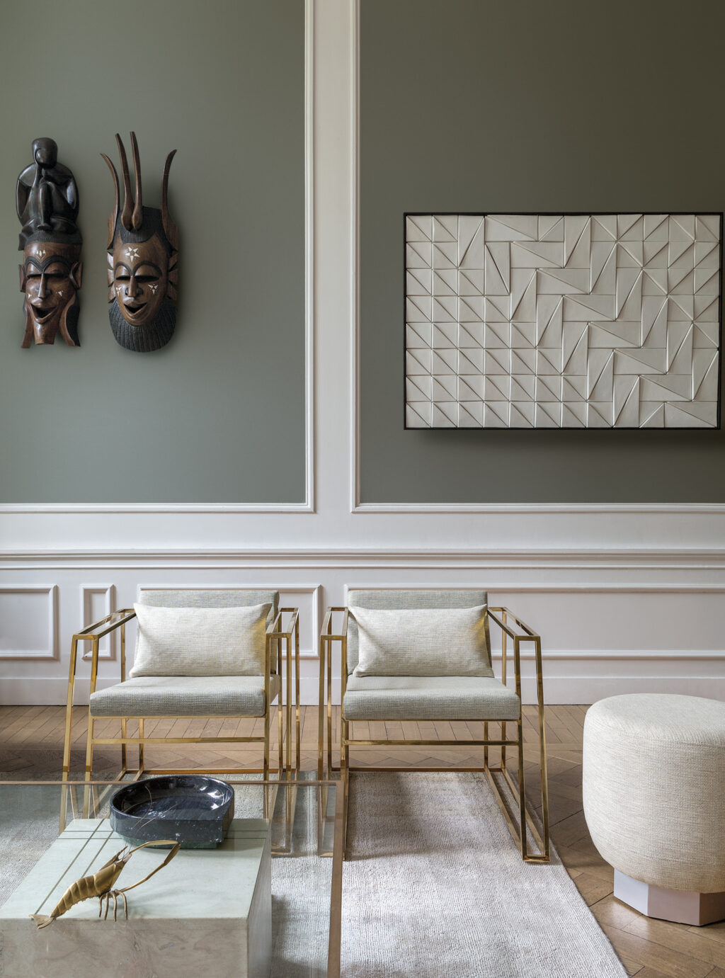 art deco modern twist living room with soft neutral fibreguard fabric seat cushions