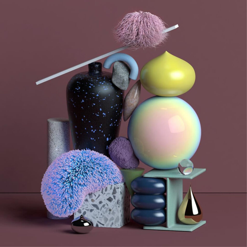 digitally created display of quirky objects with different textures and finishes