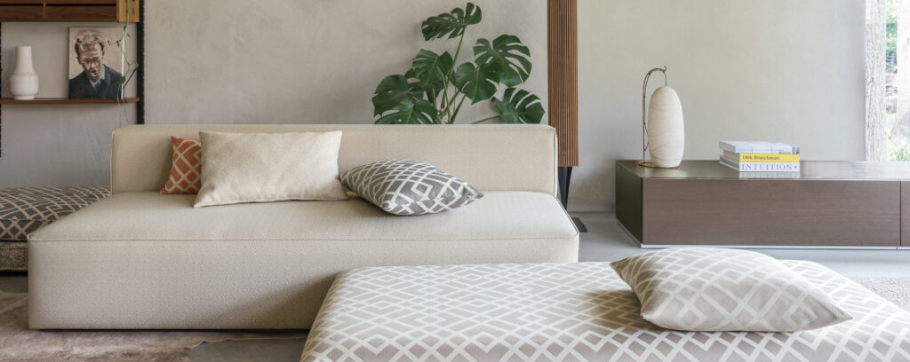 japandi neutral interior with an easy clean couch in fibreguard fabric_banner