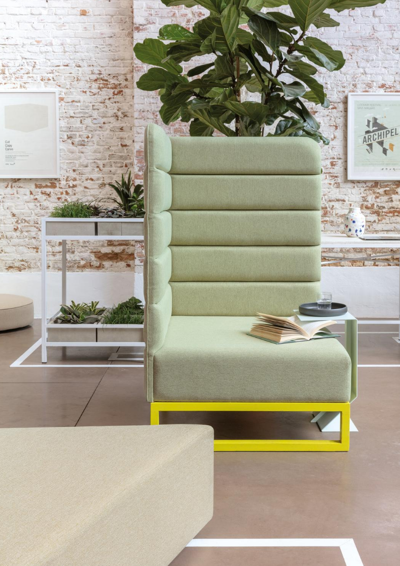 Calm green upholstered modular seat in kronos by fibreguard